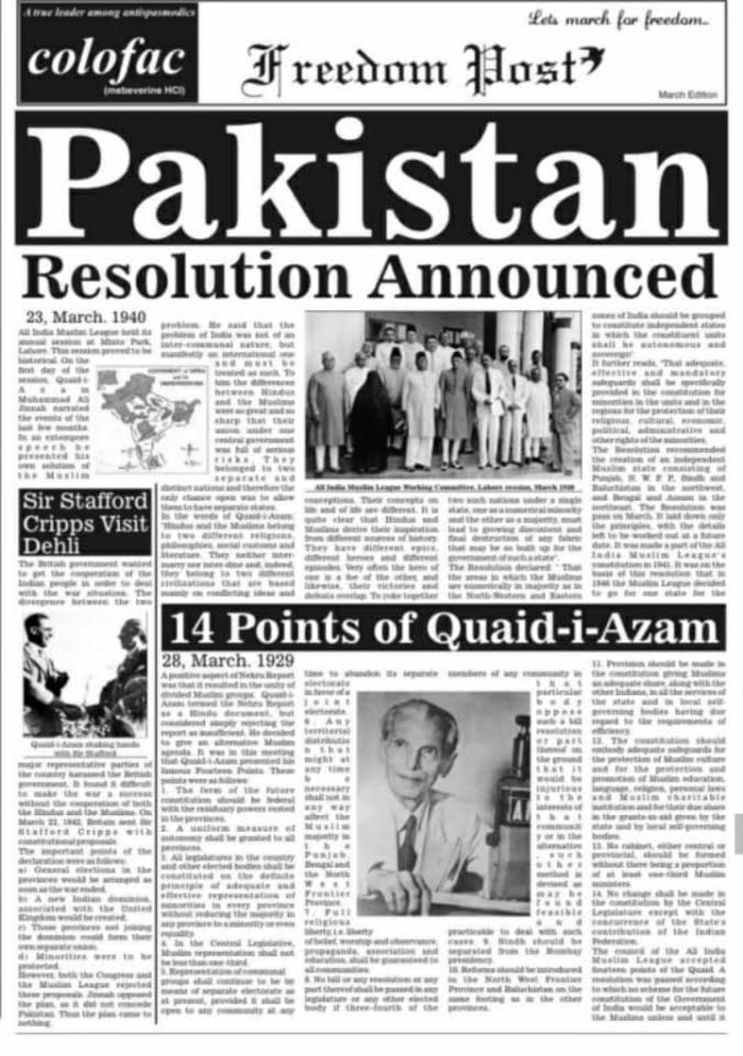 14 Points of Jinnah and Pakistan Resolution announced.